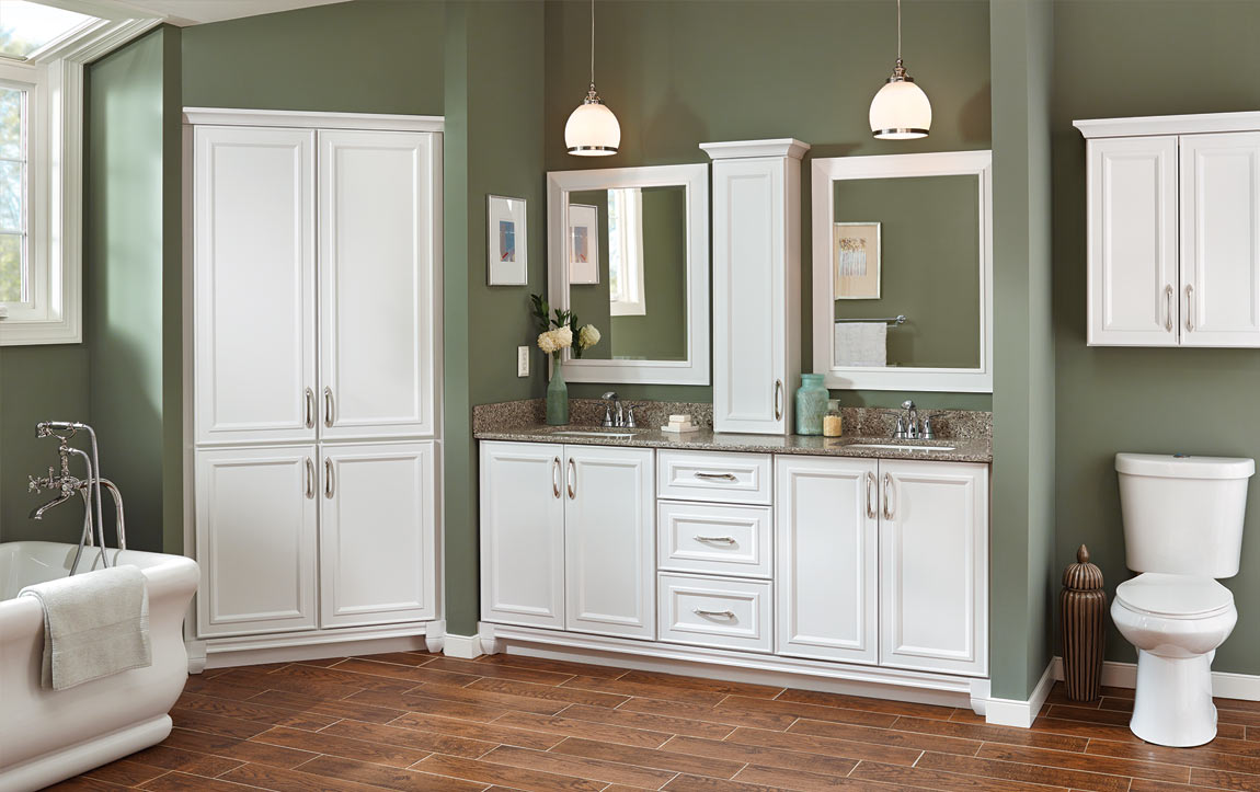Bathroom layout with Catalina White cabinets
