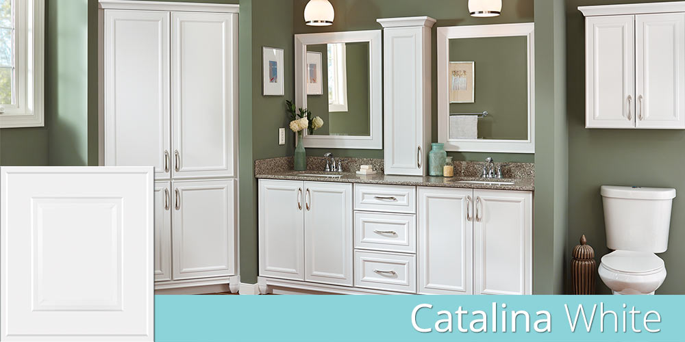 Catalina White bathroom cabinets