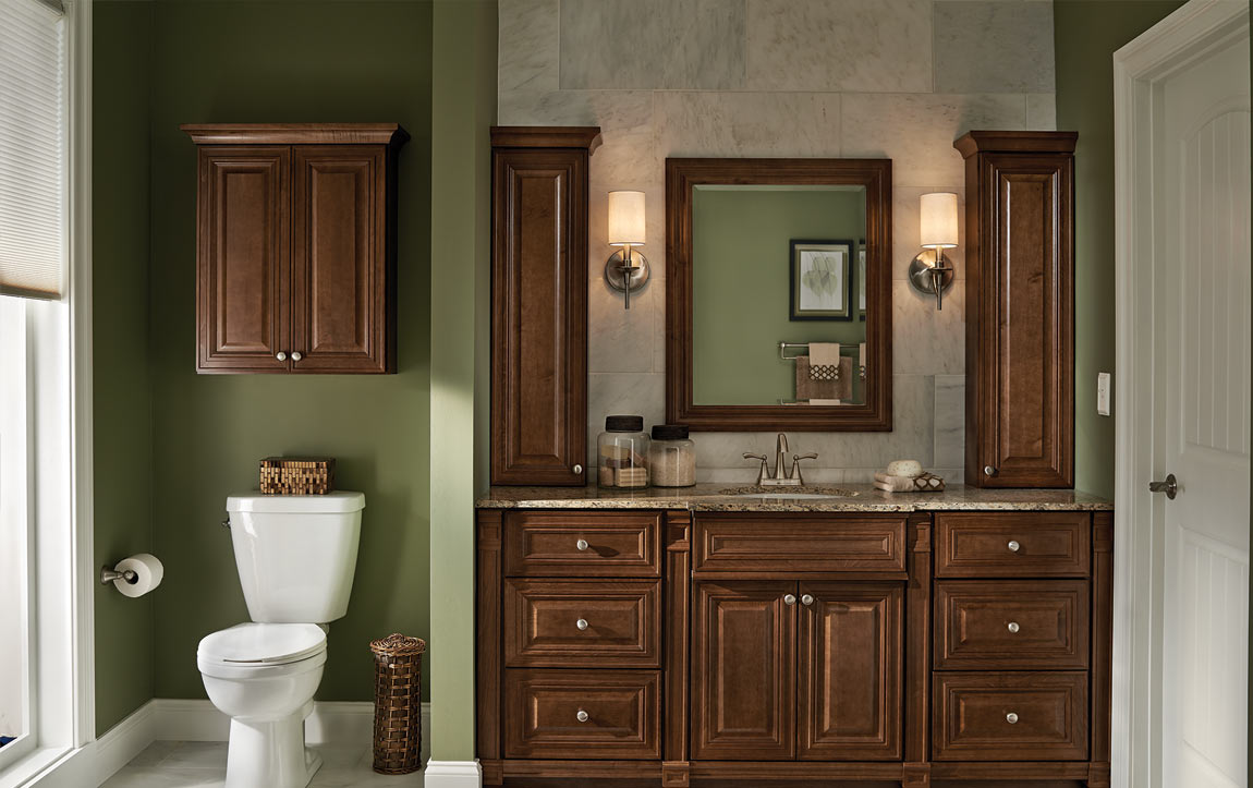 Bathroom layout with Monroe Cognac cabinets