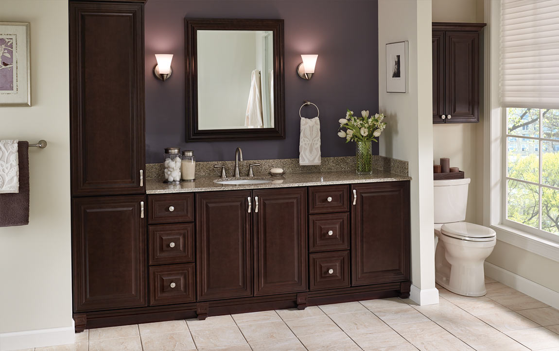 Bathroom layout with Monroe Java cabinets