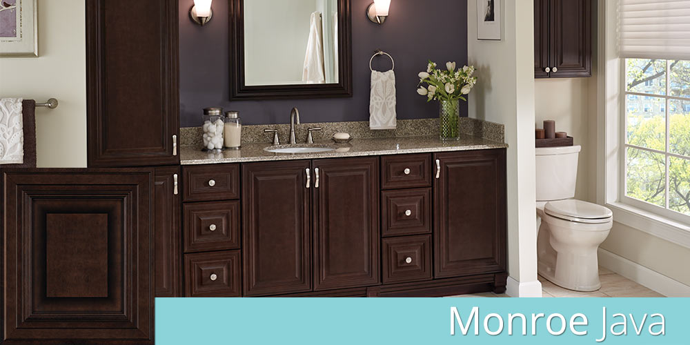 Monroe Java bathroom cabinets