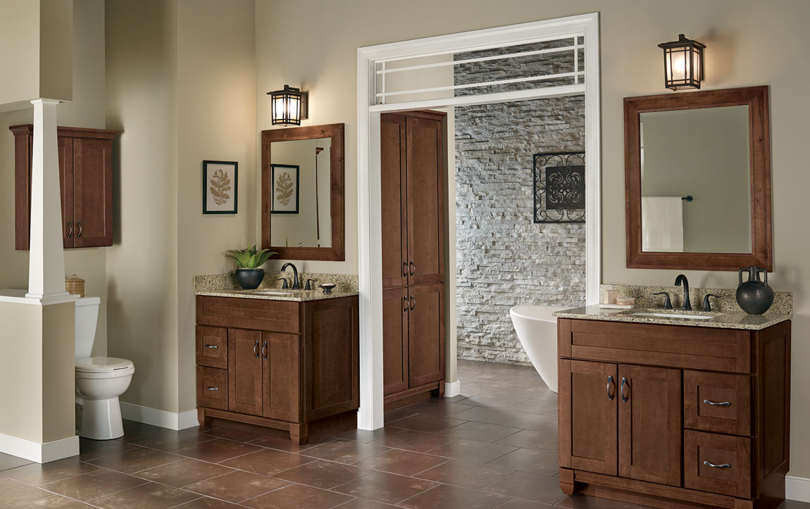 Bathroom layout with Sanabelle Cognac cabinets