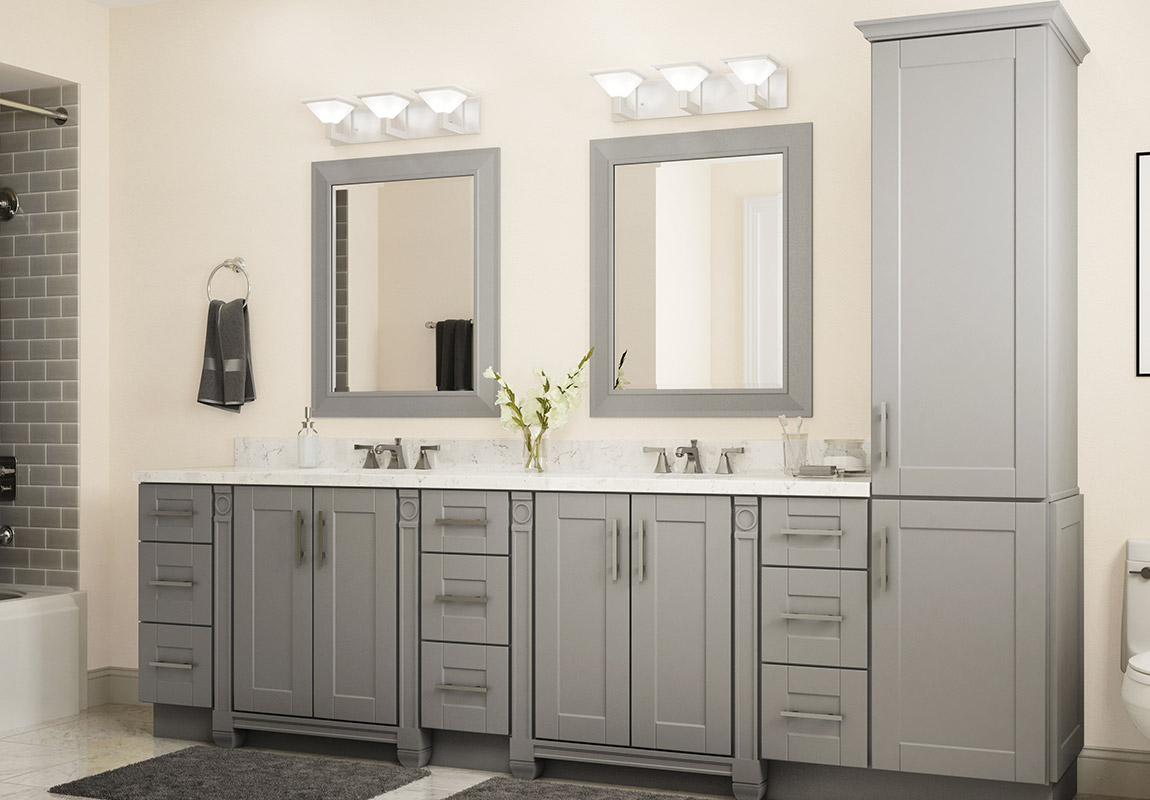 Bathroom layout with Sanabelle Gray cabinets