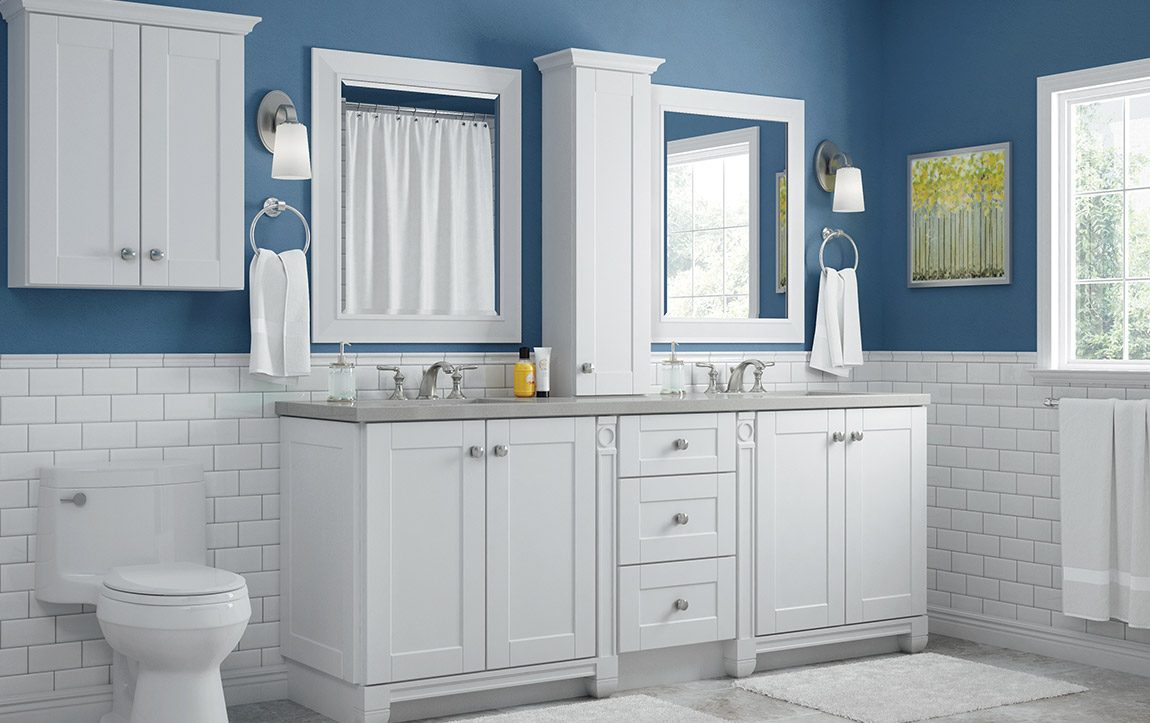 Bathroom layout with Sanabelle White cabinets
